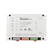 sonoff® 4ch 4 kanaals 10a 2200w 2.4ghz slimme home wifi draadloze switch app afstandsbediening ac 90v-250v