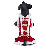 Χαμηλού Κόστους Προμήθειες για κατοικίδια-Γάτα Σκύλος Παλτά Φορέματα Ρούχα για σκύλους Μονόχρωμο Κόκκινο Χνουδωτό Ύφασμα Στολές Για κατοικίδια Πάρτι Καθημερινά Στολές Ηρώων