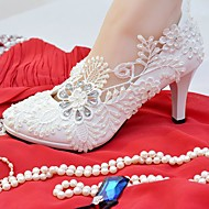 cheap Wedding Shoes-Women's Shoes Lace Leatherette Spring Fall Comfort Wedding Shoes Round Toe Rhinestone Applique Imitation Pearl For Wedding Party & Evening