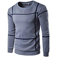 Herrer Sport Ferie Afslappet/Hverdag Simple Plusstørrelser Sweatshirt Stribet Stribe Overdimensionerede Rund hals Bomuld Polyester