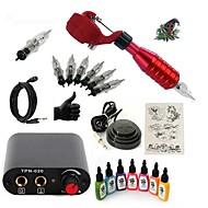 billige Tatoveringssett for nybegynnere-Tattoo Machine Startkit 1 x roterende tatoveringsmaskin til lining og skyggelegging Mini strømforsyning 5 x engangsgrep 5 stk tattoo Nåler