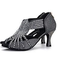 baratos Sapatilhas de Dança-Mulheres Sapatos de Salsa Gliter / Honeycomb Salto Pedrarias Salto Alto Sapatos de Dança Preto / Prata / Rosa claro / Interior