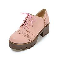 נשים נעליים דמוי עור סתיו נוחות חדשני נעלי אוקספורד בוהן עגולה עבור קזו'אל שמלה לבן שחור בז' ורוד