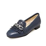 tanie Small Size Shoes-Damskie Obuwie Derma Jesień Comfort Lekkie podeszwy Buty płaskie Okrągły Toe Frędzel na Casual Formalne spotkania Black Beige Dark Blue
