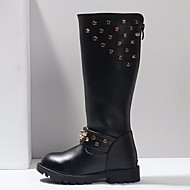Girls' Shoes PU Winter Fashion Boots Boots Knee High Boots For Casual Black