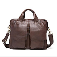 Men Bags Cowhide Tote Zipper for Casual All Seasons Chocolate Coffee Khaki