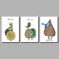 手描きの カートゥン アーティスティック 自然風 誕生日 クール コンテンポラリー オフィス クリスマス 新年 3枚 キャンバス ハング塗装油絵 For ホームデコレーション
