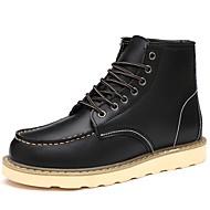 Hombre Zapatos Cuero de Cerdo Otoño / Invierno Confort / Botas de Combate Botas Mitad de Gemelo Negro / Gris / Amarillo wWBYeJEE0