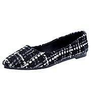 レディース 靴 繊維 冬 コンフォートシューズ フラット ラウンドトウ 用途 カジュアル ブラックとホワイト ブラック/レッド