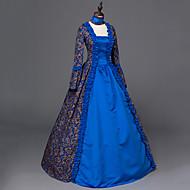 Vitoriano Rococó Mulheres Uma-Peça/Vestidos Azul Cosplay Manga Longa Longo