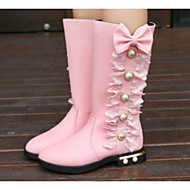 cheap Girls' Shoes-Girls' Shoes Leatherette Winter Fall Fashion Boots Comfort Boots Walking Shoes Mid-Calf Boots Beading for Casual Black Red Pink