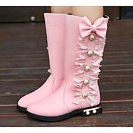 Mädchen Schuhe Kunstleder Winter Herbst Komfort Modische Stiefel Stiefel Walking Mittelhohe Stiefel Perlenstickerei Für Normal Schwarz