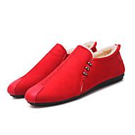 tanie Obuwie męskie-Męskie Buty Skóra Zima Jesień Zabawne Comfort Mokasyny i pantofle Spacery Materiały łączone na Casual Black Gray Czerwony