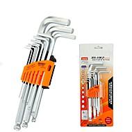 billige Håndværktøj-9 stk. Skruenøgle sæt krom-vanadium hex-nøgle metrisk allen l-nøgle sekskant mekanisk repari værktøjer sæt