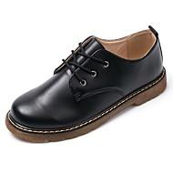 baratos Sapatos Femininos-Mulheres Sapatos Borracha Primavera / Outono Conforto Oxfords Caminhada Salto Baixo Ponta Redonda Botas Curtas / Ankle Vazados Preto