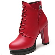 cheap -Women's Shoes PU(Polyurethane) Winter Combat Boots Boots High Heel Round Toe Booties / Ankle Boots Beading Black / Red