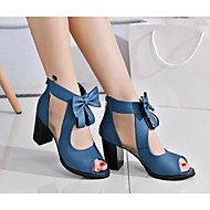 cheap Women's Sandals-Women's Shoes Nubuck leather Spring Fall Basic Pump Sandals for Casual Black Blue