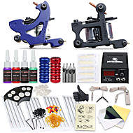 billiga Lågpris Tattoo Kit-Tattoo Machine Startkit - 2 pcs Tatueringsmaskiner med tatueringsfärger, Professionell LCD strömförsörjning No case 2 x gjutjärn