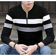 Homens Camiseta Estampa Colorida Algodão Colarinho Chinês