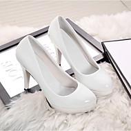 hesapli -Kadın's Ayakkabı PU Bahar Sonbahar Rahat Topuklular Günlük için Beyaz Siyah Kırmzı Badem
