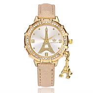billige Quartz-Dame Quartz Armbåndsur Kinesisk PU Bånd Afslappet Eiffeltårnet Mode Sort Hvid Blåt Rød Guld Lilla Rose Himmelblå
