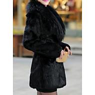 Feminino Casaco de Pêlo Festa Casual Simples Inverno,Sólido Longo Poliuretano Colarinho de Camisa Manga Longa