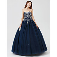 cheap -Ball Gown Sweetheart Neckline Floor Length Satin / Tulle Cocktail Party / Formal Evening Dress with Beading / Sequin / Pleats by TS Couture®