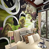 billige Tapet-Trær / Blader Mønster 3D Hjem Dekor Rustikk Tapetsering, Lerret Materiale selvklebende nødvendig Veggmaleri, Tapet