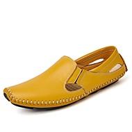 baratos Sapatos Masculinos-Homens sapatos Couro Ecológico Primavera / Outono Mocassim / Conforto Mocassins e Slip-Ons Preto / Amarelo / Azul