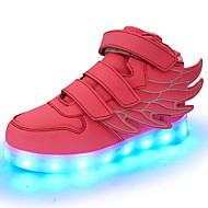 tanie Obuwie dziewczęce-Dla dziewczynek Obuwie Skóra PVC / Materiał do wyboru / Derma Wiosna Wygoda / Świecące buty Tenisówki Tasiemka / LED na Niebieski / Różowy / Czarny zielony