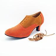 billige Moderne sko-Dame Moderne sko Semsket fuskelær Høye hæler Tvinning Kustomisert hæl Kan spesialtilpasses Dansesko Fuksia / Brun / Blå / Innendørs