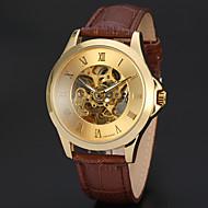 Homens Relógio Elegante Relógio de Pulso relógio mecânico Chinês Automático - da corda automáticamente Gravação Oca Couro Banda Luxo