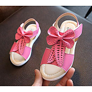 女の子 靴 合成マイクロファイバーPU 春 夏 コンフォートシューズ サンダル ウォーキング リボン のために カジュアル ホワイト イエロー ピーチ ピンク