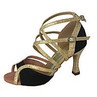 cheap Latin Shoes-Women's Latin Flocking Sparkling Glitter Sandal Heel Professional Splicing Customized Heel Black Customizable
