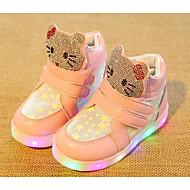 Para Meninas sapatos Couro Ecológico Outono Inverno Conforto Tênis Para Casual Branco Fúcsia Rosa claro