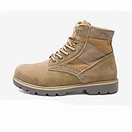 billige -Herre sko PU Vår Høst Komfort Kampstøvler Støvler Støvletter Til Avslappet Svart Kakifarget