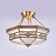 billige Taklamper-4-Light Takplafond Omgivelseslys Olje-gnidd Bronse Metall Glass Mini Stil 110-120V / 220-240V Pære ikke Inkludert / E26 / E27