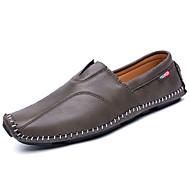 メンズ 靴 ラバー 春 秋 コンフォートシューズ ローファー&スリップアドオン のために ブラック グレー ダークブラウン