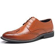 Homens sapatos Pele Couro Primavera Verão Sapatos de mergulho Conforto Oxfords Pregueado para Escritório e Carreira Festas & Noite Preto