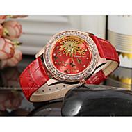 WINNER Dámské Hodinky k šatům Náramkové hodinky mechanické hodinky Automatické natahování S dutým gravírováním Kůže Kapela Třpyt Elegantní