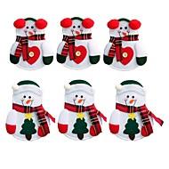 6本クリスマスの装飾素敵な雪だるま台所の食器ホルダーポケットディナーカトラリーバッグパーティークリスマステーブルデコレーション