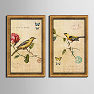 Blomstret/Botanisk Dyr Vintage Innrammet Lerret Innrammet Sett Veggkunst,PVC Materiale med ramme For Hjem Dekor Rammekunst Stue Kjøkken