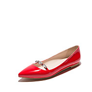 cheap Women's Flats-Women's Shoes Patent Leather Flat Heel Pointed Toe Flats Wedding / Party & Evening / Casual Black / Red / Almond