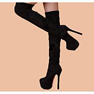 billige -60%-Dame Sko Syntetisk Mikrofiber PU Vår Høst Komfort Trendy støvler Støvler Lårhøye støvler Til Avslappet Svart