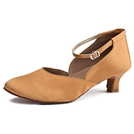 """billige Moderne sko-Dame Moderne Sateng Høye hæler Innendørs Kubansk hæl Mørkebrun 2 """"- 2 3/4"""" Kan spesialtilpasses"""
