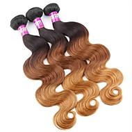 baratos -3 Peças Preto / Medium Brown / louro da morango Ondulado Cabelo Brasileiro Tramas de cabelo humano Extensões de cabelo