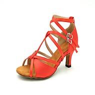 baratos Sapatilhas de Dança-Mulheres Latina Seda Sandália Salto Espetáculo Salto Carretel Dourado Preto Marron Azul Vermelho Escuro