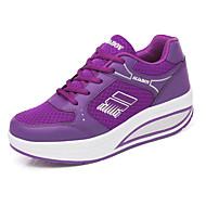 Feminino Sapatos Couro Ecológico Primavera Conforto Tênis Sem Salto Ponta Redonda Cadarço Para Branco Cinzento Roxo Rosa claro