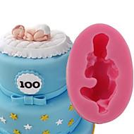billige Bakeredskap-Bakeware verktøy Silikon 3D / GDS Kake / Til Småkake / Pai 3D / Tekneserie Formet / sovende baby Cake Moulds 1pc