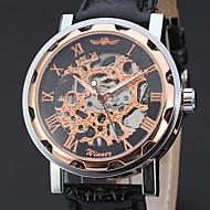 WINNER Homme Montre Habillée Montre Bracelet Montre mécanique Remontage automatique Gravure ajourée Cuir Bande Luxe Décontracté Noir